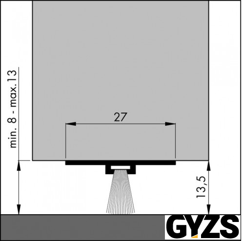 Dorpelstrip onzichtbaar, aluminium 300cm dbs-300