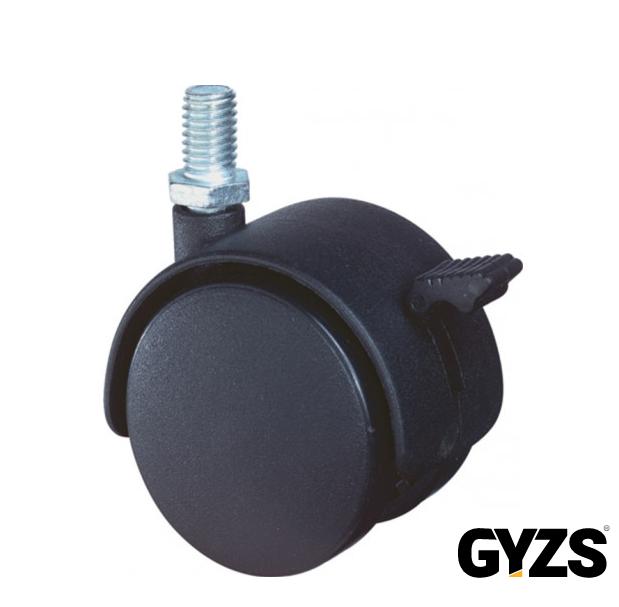 Kelfort Meubelzwenkwiel zwart kunststof met rem en verzinkte draadstift t50kg m8 50mm