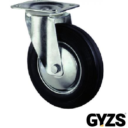 Kelfort Zwenkwiel, zwart rubber wiel met stalen velg en rollager, 50kg 80mm
