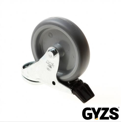 Kelfort zwenkwiel met boutgat, grijs rubber wiel met glijlager