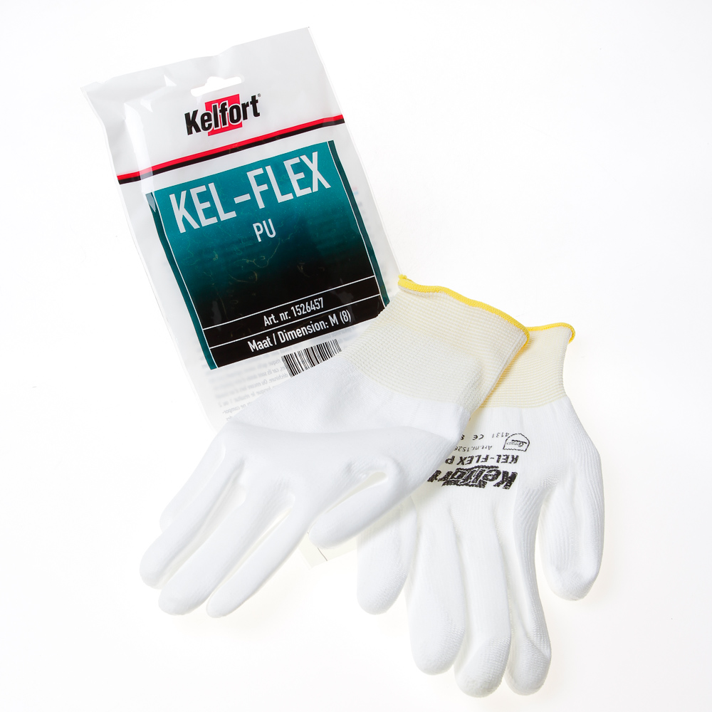 Kelfort Werkhandschoen flex pu wit 8. (per 10 paar)