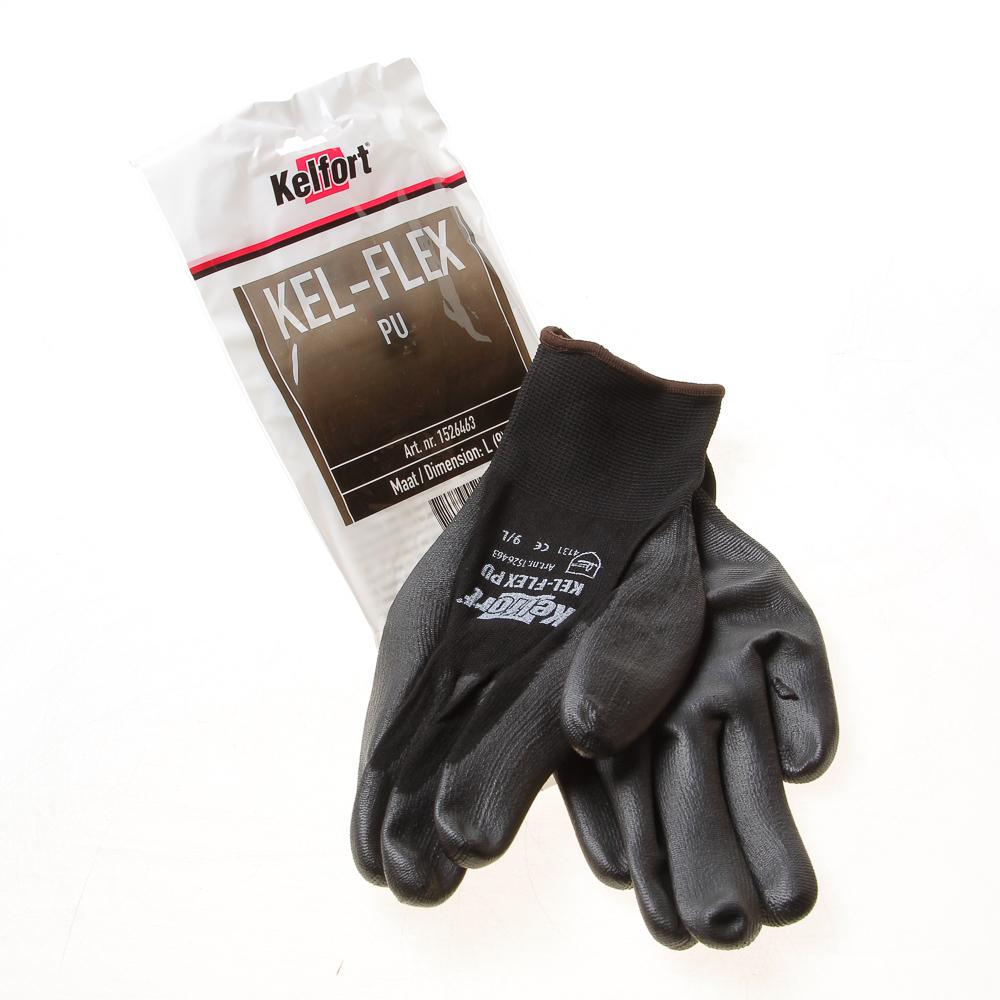 Kelfort Werkhandschoen flex pu zwart l-9 (per 10 paar)