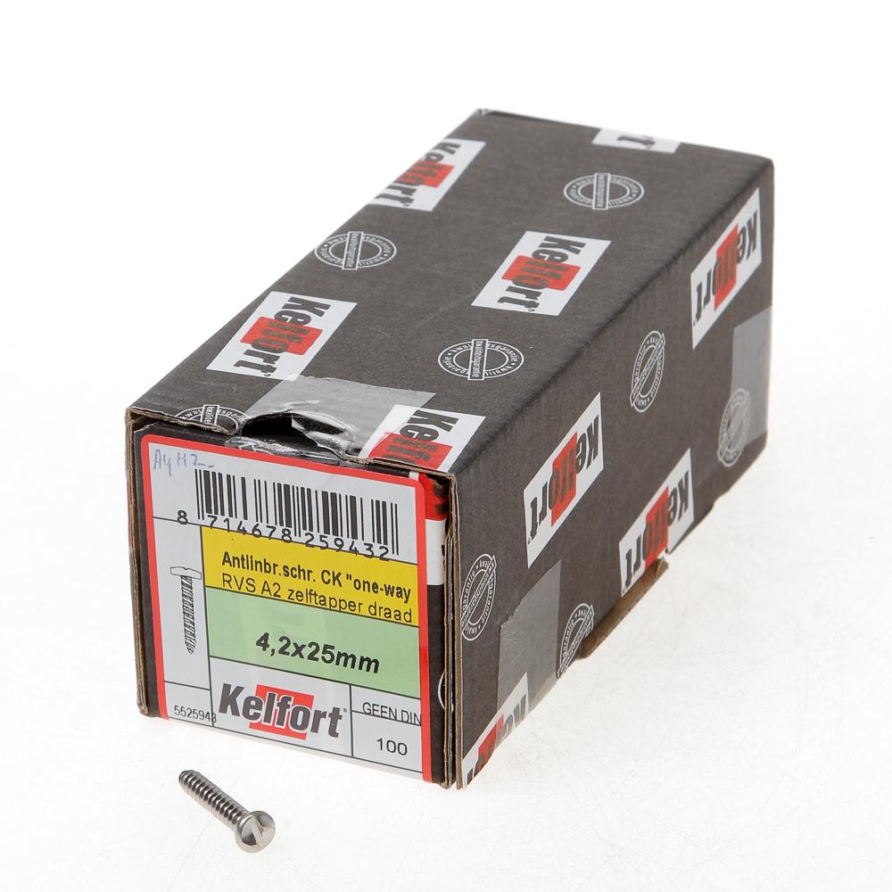 Kelfort Anti-inbraakschroef zelftappend RVS A2 3.5x 25 (per 100 stuks)