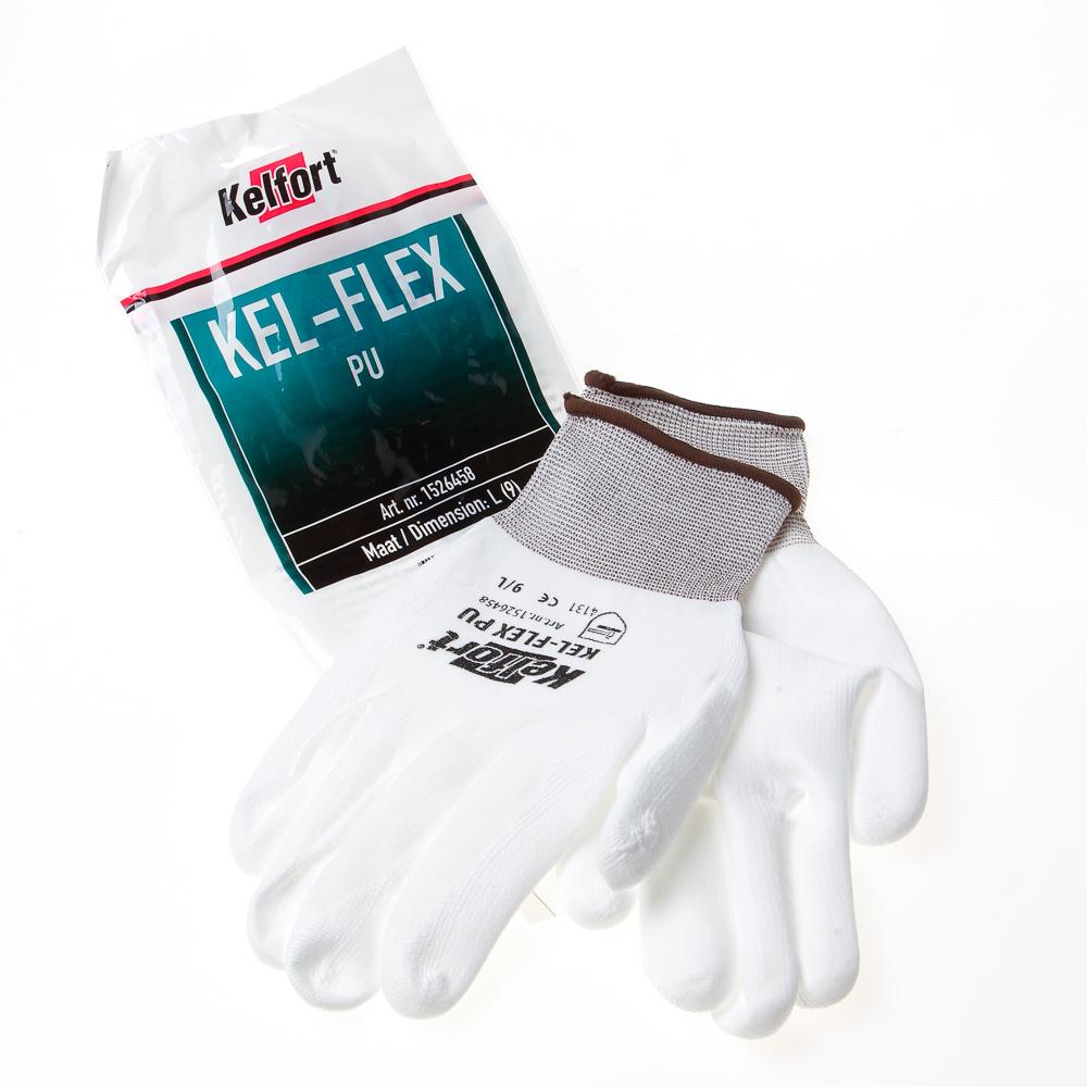 Kelfort Werkhandschoen flex pu wit 9 (per 10 paar)