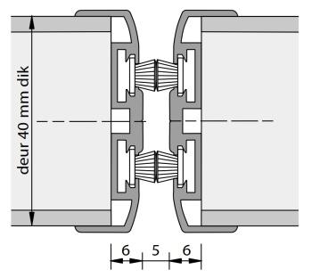 Alprokon Pendeldeurnaald met borstel dubbel Uitv. 3110-2400 mm (VOORRAAD) (per stuk)