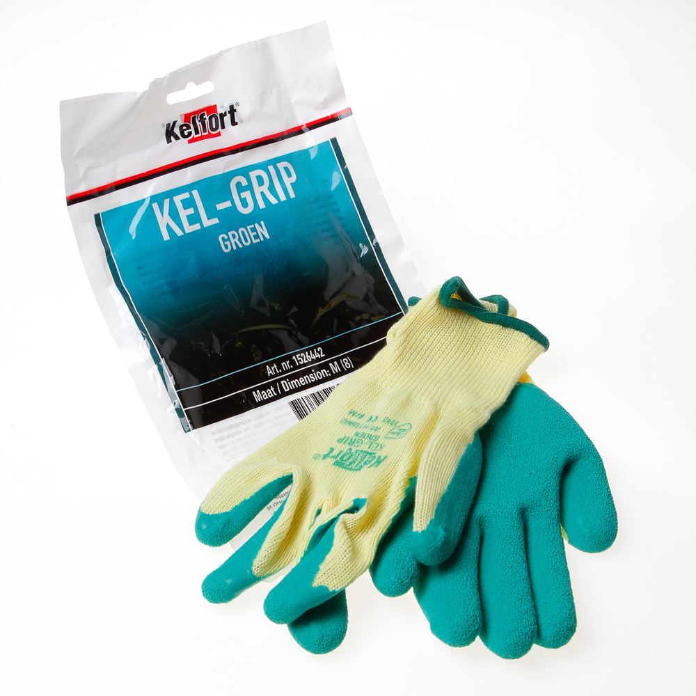 Kelfort Werkhandschoen latex groen m-8 (per paar)