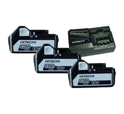 Hitachi Powerpack 1850.3 3 stuks Accu 18V 5,0Ah Li-Ion + 1 stuks oplader UC18YFSL 714912 (Prijs per