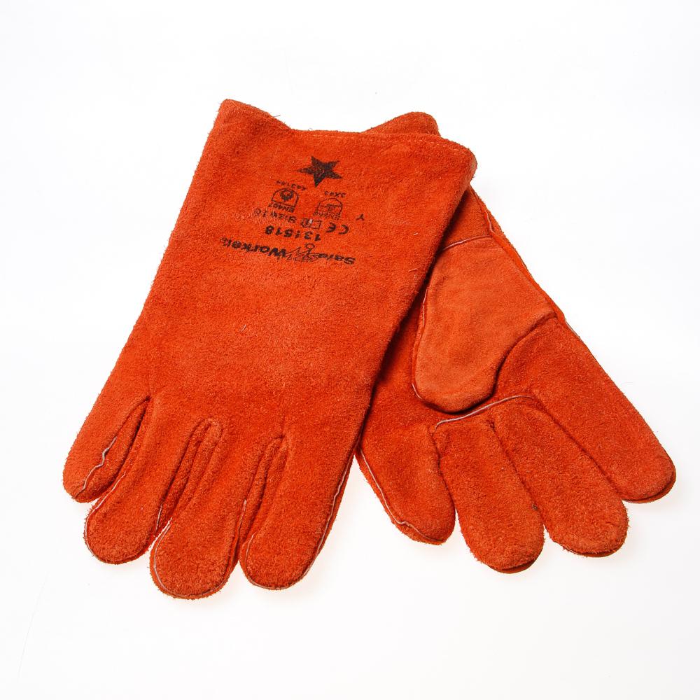 Lashandschoen oranje-bruin (per paar)