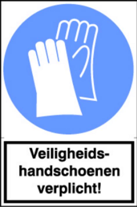 Sticker Veiligheids handschoenen verplicht! (per stuk)