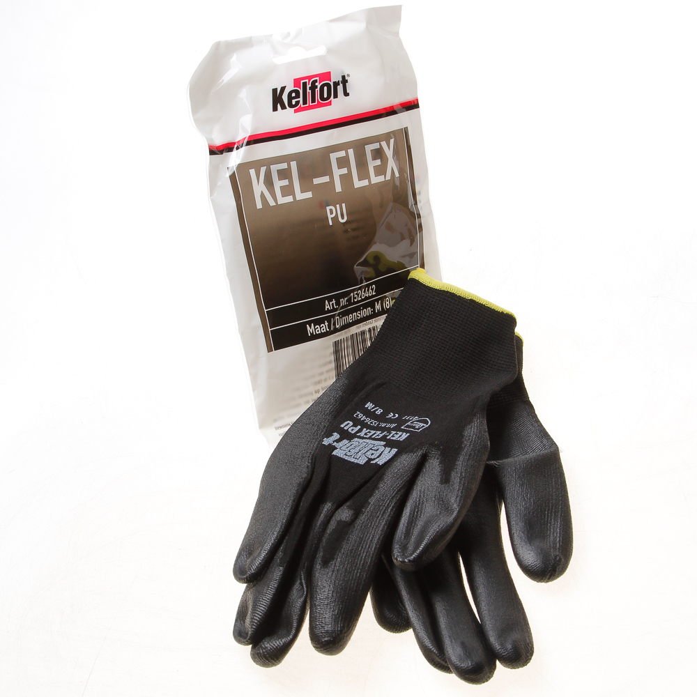 Kelfort Werkhandschoen flex pu zwart m-8 (per 10 paar)