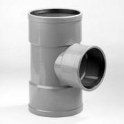 Dyka T-stuk 3x manchet 90° PVC grijs keurmerk BRL52100/BRL52200 200 x 125mm