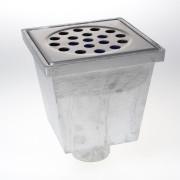 Van den Berg Vloerput buitenshuis aluminium puthuis RVS 304 rooster 200 x 200mm 2070