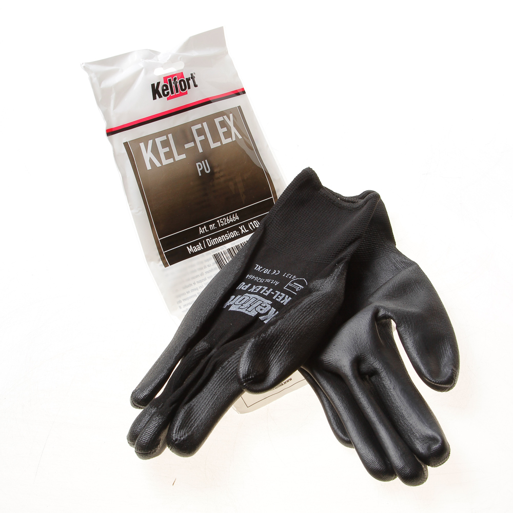 Kelfort Werkhandschoen flex pu zwart xl-10 (per 10 paar)