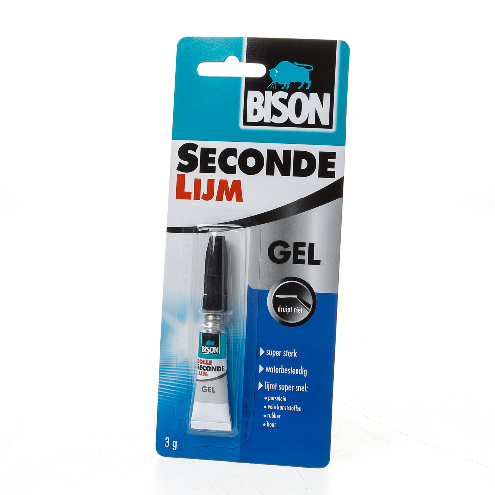 Bison Secondelijm Gel 3 g tube kaart