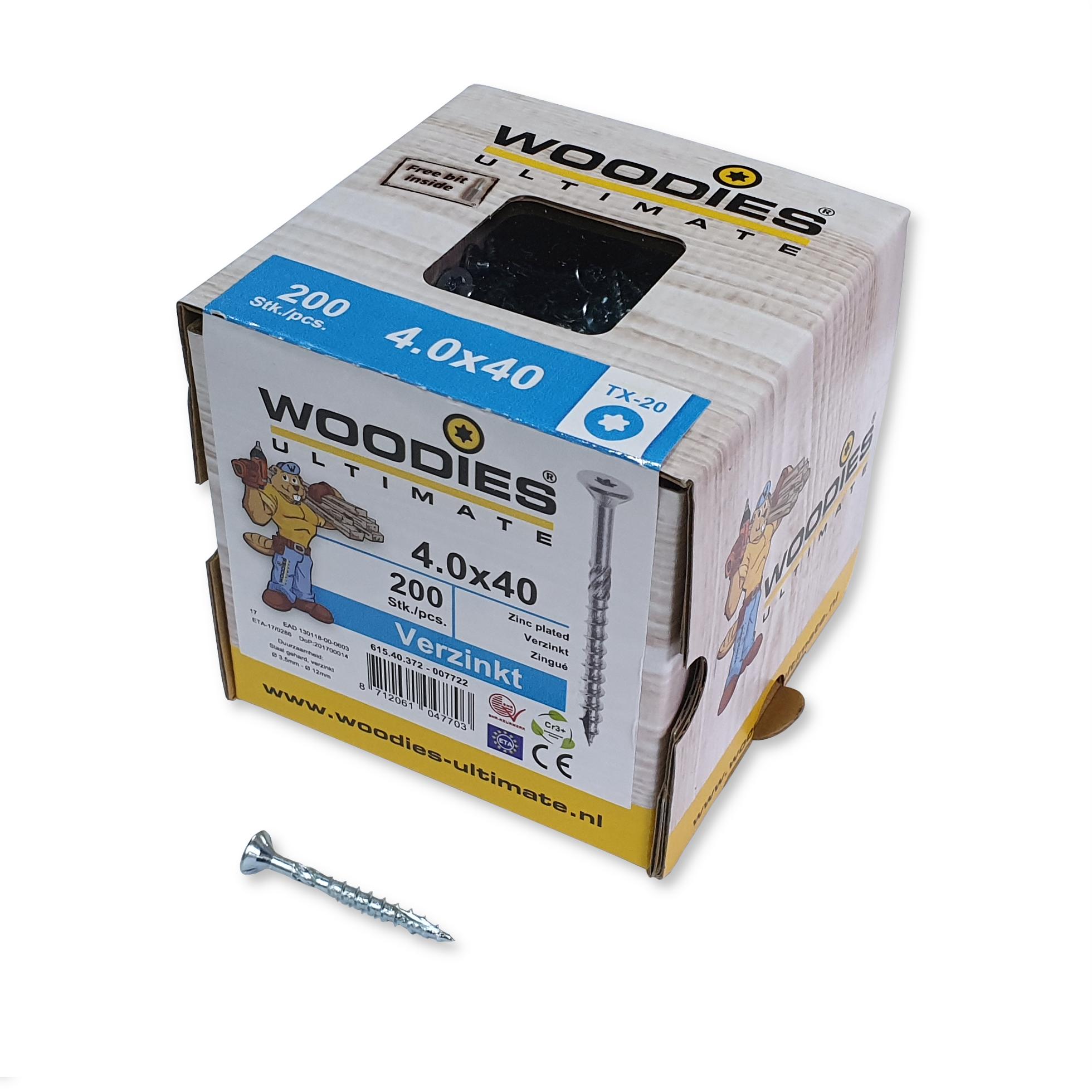 Woodies Spaanplaatschroef platkop verzinkt T 20 4.0x40mm deeldraad (Per 200 stuks)