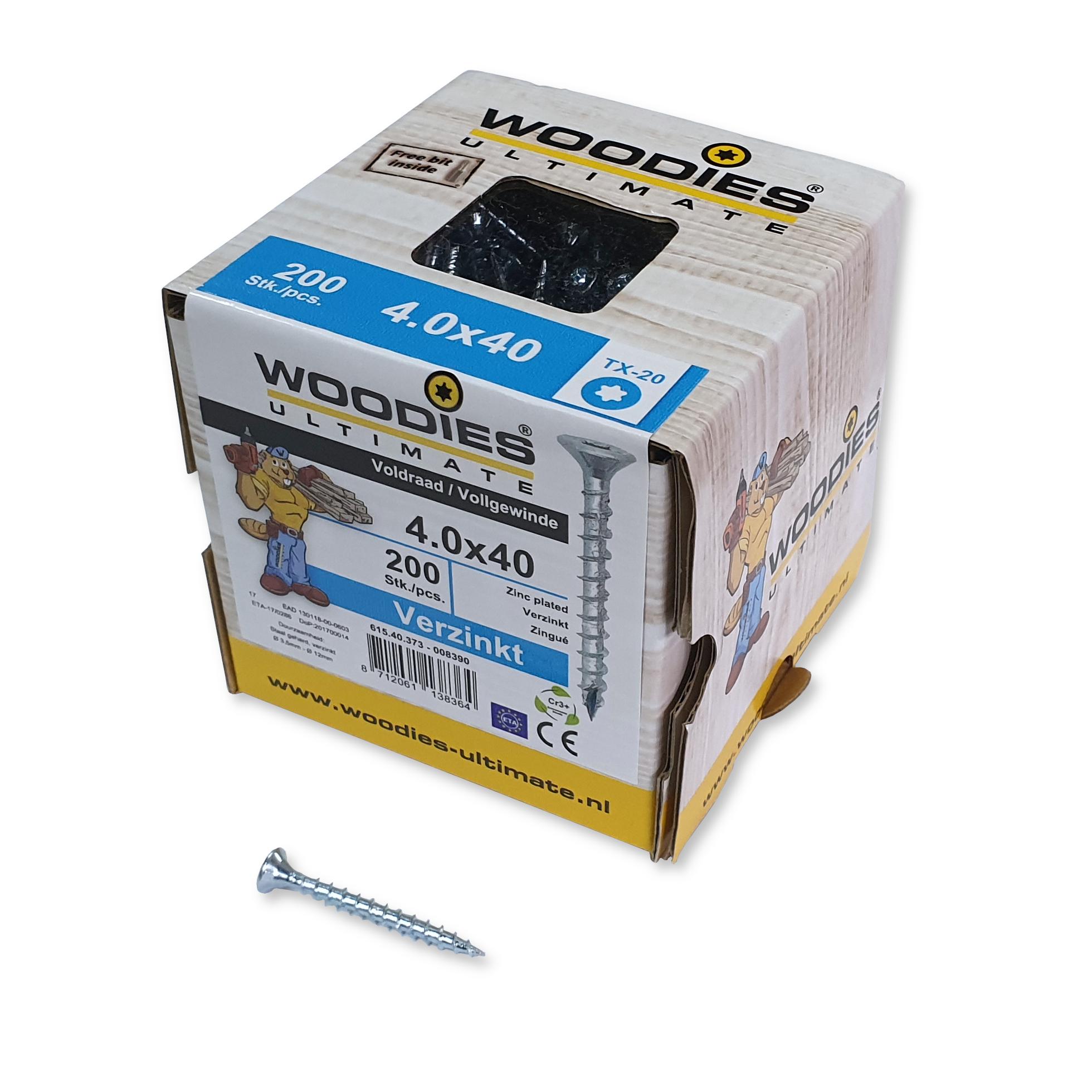 Woodies Spaanplaatschroef platkop verzinkt T 20 4.0x40mm voldraad (Per 200 stuks)
